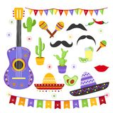 Vector illustration set of carnaval fiesta elements in bright colors and mexican style. Cinco de Mayo collection. Sombreros, a guitar, cactus flowers in flat stock illustration