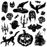 Vector illustration set of cartoon assorted Halloween accessories Black Cat, Bat, ghost, owl, pumpkin, candlestick. Separated royalty free illustration