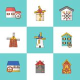 Vector set of windmills and watermills icons isolated on background vector illustration