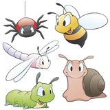 Cartoon Insects. Vector illustration of a set of cartoon garden animals  for design elements. Grouped and layered for easy editing Royalty Free Stock Photos