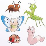 Cartoon Insects. Vector illustration of a set of cartoon garden animals  for design elements. Grouped and layered for easy editing Royalty Free Stock Photo