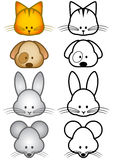 Vector illustration set of cartoon pet animals Royalty Free Stock Image