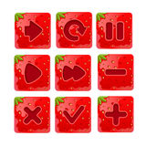Vector illustration of a set  Cartoon red buttons. Vector illustration of a set of Cartoon red buttons, Strawberry kit for game ui development, vector gui Stock Photography