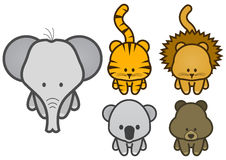 Vector illustration set of cartoon wild animals Royalty Free Stock Photo