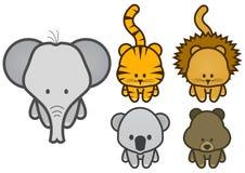 Vector illustration set of cartoon wild animals Royalty Free Stock Photo