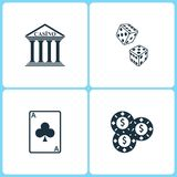 Vector Illustration Set Casino Icons. Elements of Casino, Dice game , Ace card and Gambling chips icon vector illustration
