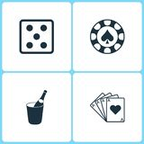 Vector Illustration Set Casino Icons. Elements of Dice game , Gambling chips, Champagne in a bucket and Four Ace icon. On white background Royalty Free Stock Images