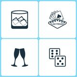 Vector Illustration Set Casino Icons. Elements of Glass of whiskey with ise, Las Vegas, Glasses of champagne and Dice game icon. On white background Stock Photography