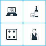 Vector Illustration Set Casino Icons. Elements of Poker game, Whiskey bottle, Dice game and Croupier icon. On white background Royalty Free Stock Photo