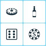 Vector Illustration Set Casino Icons. Elements of Roulette, Whiskey bottle, Dice game and Gambling chips  icon. On white background Royalty Free Stock Photos