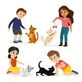 Vector illustration set of children and cats. Happy, funny kids playing, love and taking care of kittens, pet animals in. Flat cartoon style stock illustration