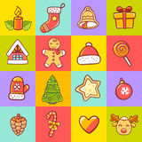 Vector illustration of set of christmas items on colorful  Royalty Free Stock Photos