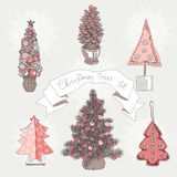 Vector illustration set with christmas trees Royalty Free Stock Photos