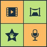 Vector Illustration Set Cinema Icons. Elements of Comedy acting masks, Loudspeaker, Pause and Stop Media Player icon. On white background Stock Image