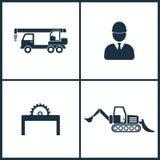 Vector Illustration Set Cinema Icons. Elements of Crane, Builder, Saw and Loader icon royalty free illustration