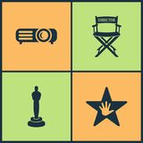 Vector Illustration Set Cinema Icons. Elements of Loudspeaker, Clapper board, Tv and 3d movie glasses Vector illustration icon. On white background Royalty Free Stock Photos