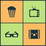 Vector Illustration Set Cinema Icons. Elements of Projector, Director chair, Movie award and Walk of Fame star icon. On white background Royalty Free Stock Images