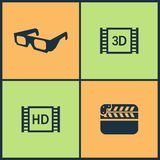Vector Illustration Set Cinema Icons. Elements of Video tape, Red carpet, Walk of Fame star and Microphone icon. On white background Stock Images