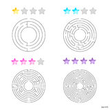 Vector illustration of set of 4 circular mazes for kids at diffe Stock Photos