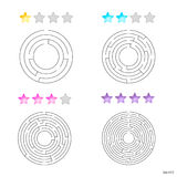 Vector illustration of set of 4 circular mazes for kids at diffe Royalty Free Stock Images