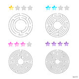 Vector illustration of set of 4 circular mazes for kids at diffe Stock Photo
