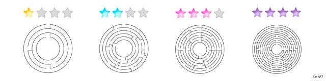 Vector illustration of set of 4 circular mazes for kids. At different levels of complexity Stock Photo