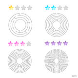 Vector illustration of set of 4 circular mazes for kids at diffe Royalty Free Stock Photography