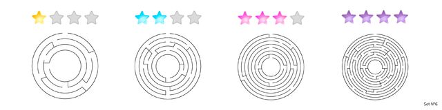 Vector illustration of set of 4 circular mazes for kids   Stock Images