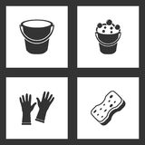 Vector Illustration Set Cleaning Icons. Elements of Bucket, Bucket bubbles, Gloves and Sponge icon stock illustration