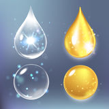 Vector illustration of Set  collagen drops, water, transparent, hyaluronic acid. Stock Photo