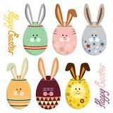 Vector illustration set of colorful eggs with bunny faces and ears. For happy easter day Royalty Free Stock Image