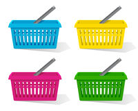 Vector illustration. Set of colorful empty shopping basket with handle.. Vector illustration. Set of colorful empty plastic shopping basket with handle Stock Photos