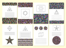 Vector illustration set of colorful mosaic invitations Royalty Free Stock Image
