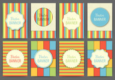 Vector illustration set of colorful retro invitations Royalty Free Stock Photography
