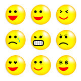Vector illustration set of cool smile-balls. Royalty Free Stock Photo