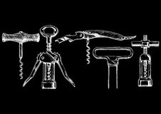 Vector illustration set of corkscrews Royalty Free Stock Images