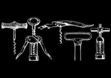 Vector illustration set of corkscrews Royalty Free Stock Images