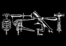 Vector illustration set of corkscrews Stock Image