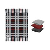 Set of cozy soft plaid with fringe and three pillows, isolated on white background. royalty free illustration