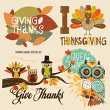 Thanks Giving Cute Illustration Vector Set stock illustration