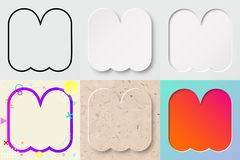 Vector illustration set of cute bold rounded letter m with different gradient effect and transparent shadow. Vector illustration set of cute bold rounded letter Stock Photos