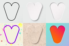 Vector illustration set of cute bold rounded letter v with different gradient effect and transparent shadow. Vector illustration set of cute bold rounded letter Royalty Free Stock Photos