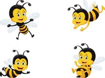 Vector illustration set of cute cartoon bee. Isolated on white vector illustration