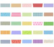 Vector illustration set of cute colorful hand drawn masking tape. Washi tape fabric strip, blank tags labels stickers with patterns in pastel color as design Stock Photography