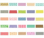 Vector illustration set of cute colorful hand drawn masking tape. Washi tape fabric strip, blank tags labels stickers with patterns in pastel color as design Royalty Free Stock Photos