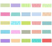 Vector illustration set of cute hand drawn masking tape Washi t. Vector illustration set of cute colorful hand drawn masking tape Washi tape, fabric strip, blank Royalty Free Stock Image