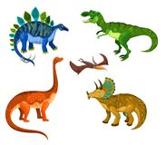 Vector illustration set with a cute dinos stock images