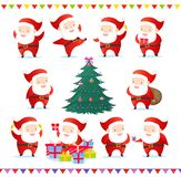 Vector illustration set of cute and funny Santas in different poses. Collection of Santa Claus and Christmas tree with vector illustration