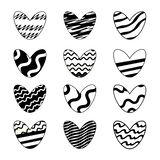 Vector illustration. Set of cute hearts painted in black and white colors isolated on white background. royalty free illustration