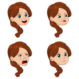 Vector Illustration set of cute little girl faces showing different emotions Royalty Free Stock Images
